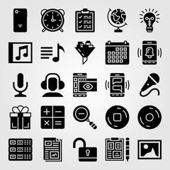 Essentials icon set vector. record, calendar, file and server