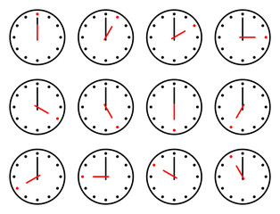 hourly clock set vector