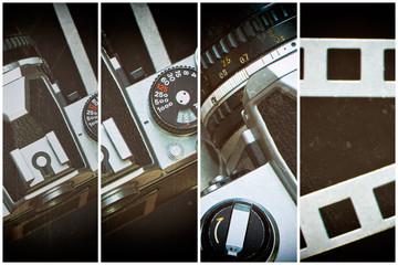 Retro SLR camera on background of perforation film