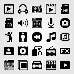 Multimedia icon set vector. browser, video player, photo and microphone
