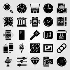 Essentials icon set vector. planet earth, zoom in, button and alarm clock