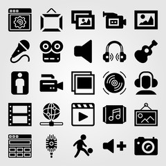 Multimedia icon set vector. speaker, man, internet and frame