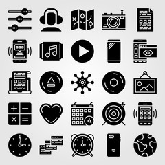 Essentials icon set vector. settings, photo camera, planet earth and record