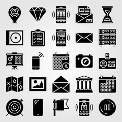 Essentials icon set vector. email, letter, presentation and photo camera