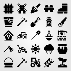 Garden icon set vector. well, honey, windmill and basket