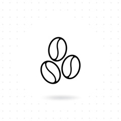 Coffee Bean Icon Beans In Line Style Design Flat Illustration Of
