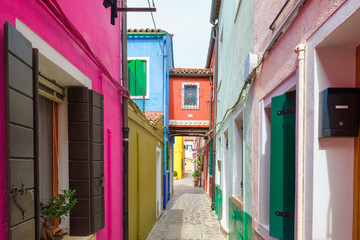Colorful houses on the island of Burano near Venice