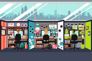 Business People Working in Office Cubicles Illustration