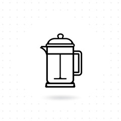French press icon. Coffee brewing method. French press for coffee or tea. French press pot outline icon. Coffee icon in flat style. Vector illustration