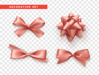 Bows pink realistic design. Isolated gift bows with ribbons.