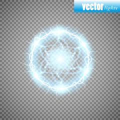 Abstract round frame with electric shock. Vector illustration.