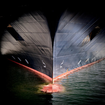 Bow of a large cargo ship