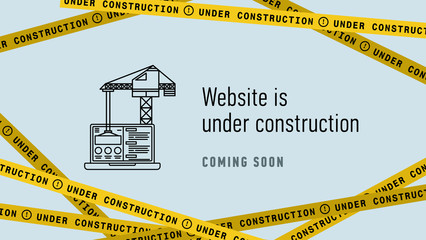 Website in under construction banner flat. Web page building process. Modern vector illustration.