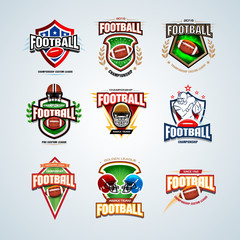 American football logo templates set, badges, crests, t-shirt, label, emblem, t-shirt, icons. Football helmet, player. Isolated Vector illustrations.