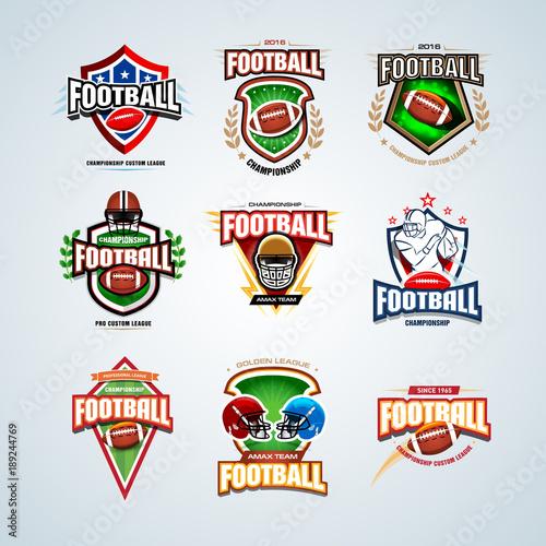 american football logo templates set badges crests t shirt label