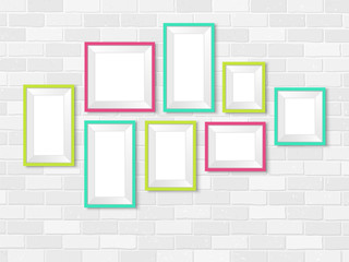 Frames photo gallery mock up brick wall colorful vector
