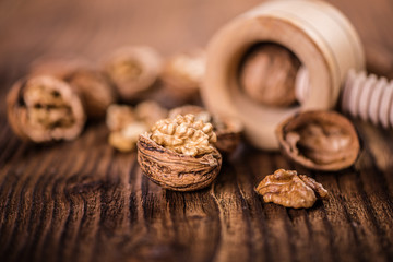 walnut kernel shell on wood table