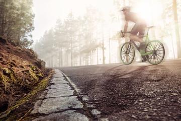 Rennrad auf einer Waldstraße