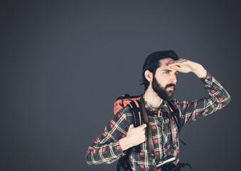 Traveler adventurer man with dark background