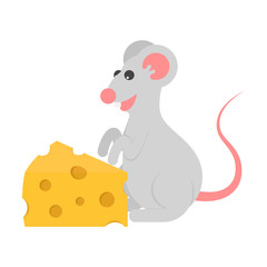 Icon slice of cheese and character mouse