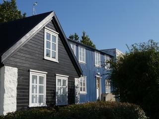 Holzhäuser in Reykjavik in Island