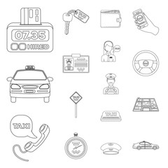Taxi service outline icons in set collection for design. Taxi driver and transport vector symbol stock web illustration.