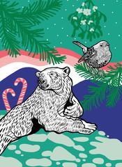 Polarbear with robin bird and sugar cane