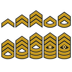 Military ranks set, Army Patches. Vector
