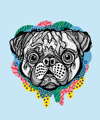 Pug face with colorful drips and blue background