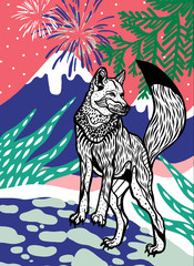 Wolf with firework and mountain