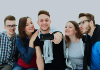 Group of happy young teenager students taking selfie photo isolated on white background.