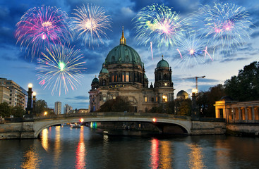 Fireworks over Berliner Dom (Berlin cathedral), Germany