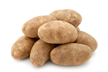 Russet potatoes isolated on a white background.