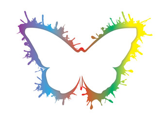 smudge splash rainbow grunge butterfly icon isolated