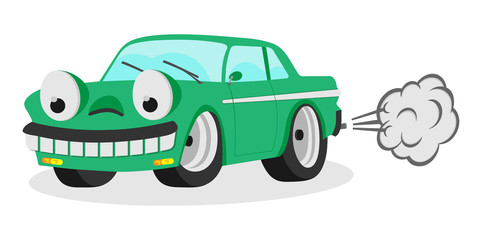 funny cartoon car auto smile with smoke vector illustration for kids