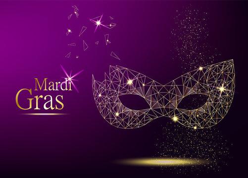 Mardi Gras golden polygonal carnival mask