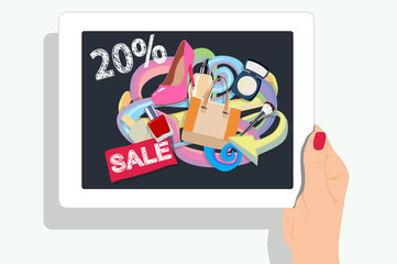 Gift discount web page with doodle design on digital tablet screen