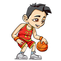 Cartoon basketball kid