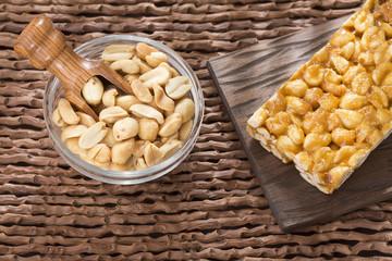 Energy bar with peanut seeds