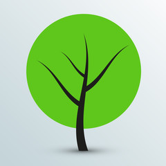 Vector modern flat green tree icon