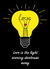 Cute vector handwritten illustration about love and feelings. Heart-shaped lightbulb, eps 10