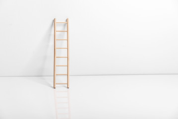 Wooden ladder leaning against the wall.