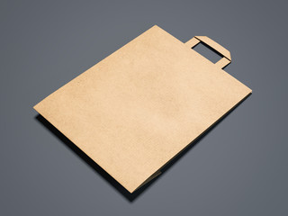 Brown paper shopping bag isolated. 3d rendering
