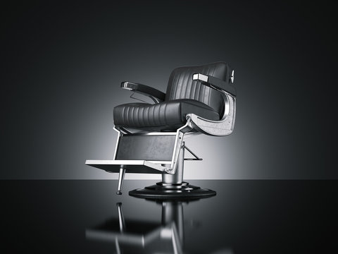 Barbershop chair isolated dark background. 3d rendering