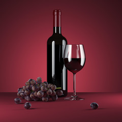 Red wine bottle with grape. 3d rendering