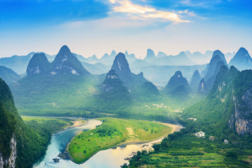 Landscape of Guilin, Li River and Karst mountains. Located in The Ancient Town of Xingping, Yangshuo, Guilin, Guangxi, China.
