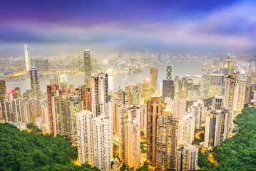 Hong Kong. View of Victoria Harbour and Hong Kong Central beside Victoria Peak. Taken from Victoria Peak (Taiping Mountain). Located in Hong Kong.