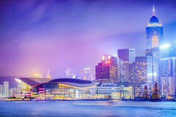Hong Kong at night. Victoria Harbour and Hong Kong Central. Located in Hong Kong.