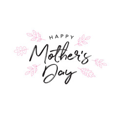 Happy Mother's Day Holiday Handwriting Background with Line Art Leaves