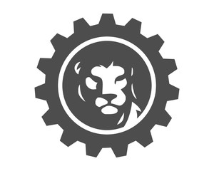 gear lion leo head silhouette image vector icon logo